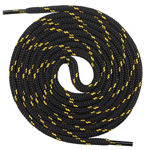Mount Swiss runde Premium-Schnürsenkel für Arbeitsschuhe, Wanderschuhe und Trekkingschuhe - Polyester - ø 4,5 mm - sehr reißfest - Farbe Schwarz-Gelb Länge 190cm