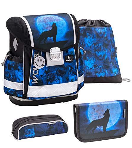 Preisvergleich Produktbild Belmil Schulranzen Set 4 - teilig ergonomischer Schulranzen Jungen 1. klasse 2. klasse 3. klasse - Super Leicht 860-950 g / Grundschule / Wolf blau (403-13 Wolves Blue)