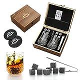 Juego de 2 vasos de whisky, piedras de whisky reutilizables, juego de 2 vasos de whisky, caja de madera hecha a mano, regalo hombre, regalo para mujer, padrino, piedras de whisky, regalo de ginebra.