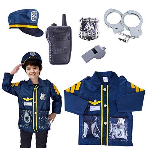 Teakpeak Disfraz De Policía Niño, 6 Piezas Policia Kit Policia Chaleco Niño con Esposas Juego De rol De Juguete para Swat, Detective, FBI, Halloween y Disfraces