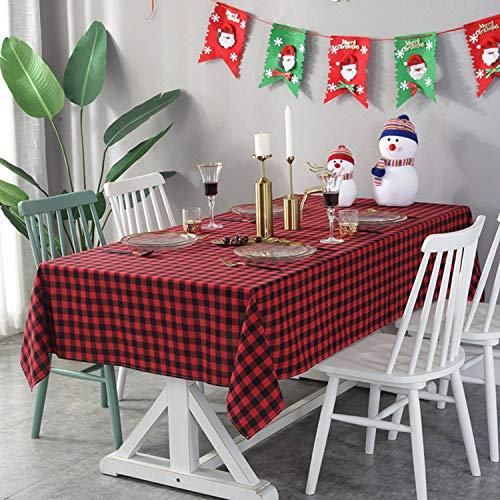 Mantel de Cuadros Rojo y Negro, de Tenmon, de Lino de Algodón, Utilizado Para Mesa de Cocina, Mesa de Centro, Decoración Navideña (55 x 71 Pulgadas, Rojo)