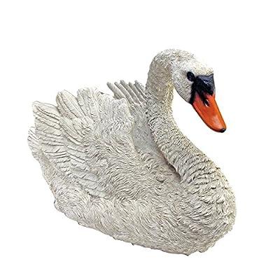Design Toscano White Swan Garden Bird Statue, 18 Inch, Polyresin, Full Color