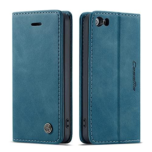 yanzi Hülle iPhone 5 iPhone 5S iPhone SE Handyhülle Flip Hülle Schutzhülle Premium Leder Tasche Blau Wallet Lederhülle Bumper Silikon iPhone 5 iPhone 5S iPhone SE Cover Hülle