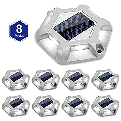 Solar Dock Lights Outdoor Waterproof?APONUO Driveway Lights Led Solar Powered Bright White 6 LEDs Outdoor Solar Dock Deck Lights for Marine Dock Stairs driveways ?8 Packs?