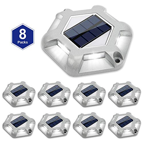 Solar Dock Lights Outdoor Waterproof,APONUO Driveway Lights Led Solar Powered Bright White 6 LEDs Outdoor Solar Dock Deck Lights for Marine Dock Stairs driveways (8 Packs)