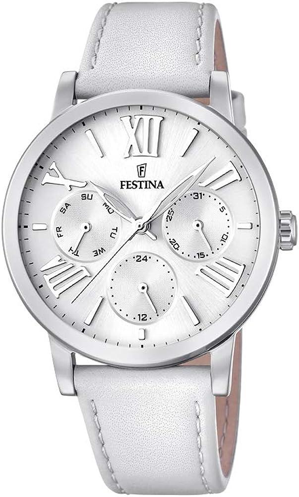 Festina orologio cronografo da donna con cassa in acciaio inossidabile cinturino in vera pelle F20415/1