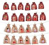 SunAurora 24 Calendario Dell'avvento, Sacchetti di Tessuto Calendario dell'avvento,Sacchetto Regalo di Natale, Calendario dell'Avvento 2020 per Il Calendario Natalizio Fai-da-Te