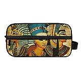 Bolsa de aseo RELEESSS para pintura egipcia antigua ligera, portátil, portátil, para viajes, maquillaje, cosméticos, bolsa de mano para mujeres y niñas