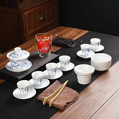 La taza de té de cerámica y el juego de té de regalo de empresa se pueden personalizar con el logotipo de porcelana blanca alta, tapa azul y blanca, tazón, tetera, taza de té-Embalaje de maleta y tra