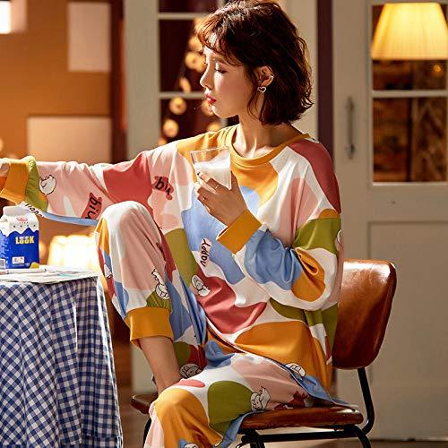 Damen Zweiteil Schlafanzüge,Creme Mode Bunte Wolkendruck Baumwolle Frau 2 Stück Herbst Damen Pyjama Winter Set Vintage Sexy Elegant Damen Nacht Kleid Set, XL