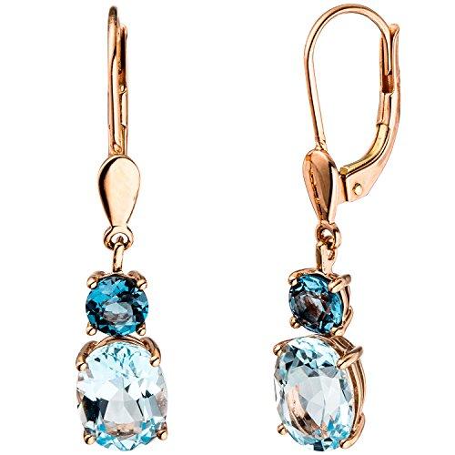 JOBO Damen-Ohrhänger aus 585 Rosegold mit Blautopas