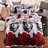 wuy Fashion 3D Marilyn Monroe Printed Queen Size Duvet Cover Pillowcases Bedding Sets (Size: Queen 3pcs)