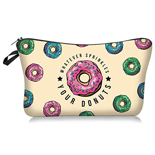Donut Makeup bag Double-sided Printied Waterproof Travel Cosmetic Bag Zipper Pouch Small Toiletry Organizer, Adorable Roomy Doughnut Pencil Case for Girls (Donut Gifts)