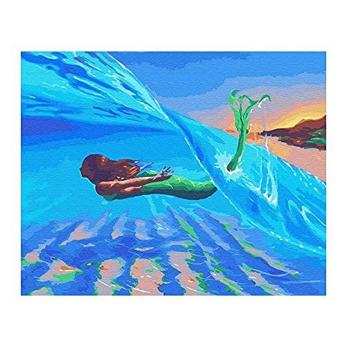 Milkvetch Kits de Pintura por NúMeros para Adultos En Lienzo 16 X 20 Pulgadas Kit de Pintura AcríLica DIY para NiiOs y Adultos Principiantes - Surf & Mermaid