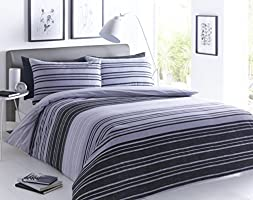 Sleepdown Textured Stripe Black Grey Duvet Cover & Pillowcase Set Bedding Quilt Case, Double