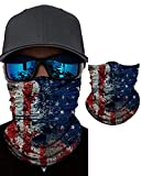 FUNHOME Seamless Face Cover Mouth Mask Scarf American Flag Bandanas Neck Gaiter - Dust & UV Sun-Protection for Festivals and Outdoors - Product Available in USA and Fulfilled by Amazon