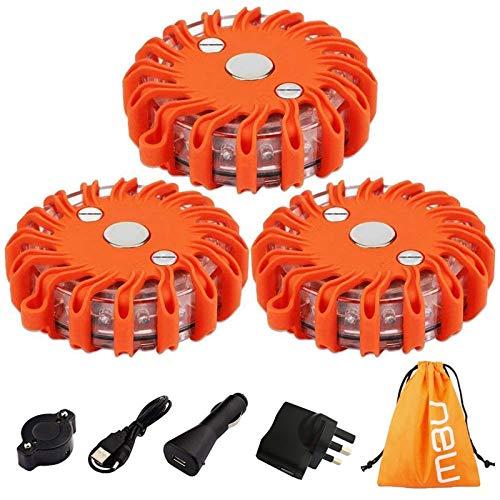 TEHEO Flashing Warning Lights for Car Roadside Emergency Safety 9 Light Modes rechargeable LED Roadside Strobe Light with Magnet for Breakdown Assistance, 3 Pieces, Orange