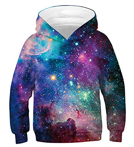 Idgreatim Youth Hoodies Pullover Novelty 3D Lion Hooded Jumperss Womens Pocket Sweatshirts M