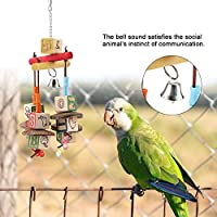 立っているおもちゃ、ペットの鳥のおもちゃ、健康的なハンギングスイングスタンドブロック木製の環境に優しいハンギングブリッジペットの鳥のおもちゃオウムのための鳥の噛むおもちゃ