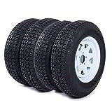 Roadstar 4pcs 205 75 15 Trailer Tire and Rim 205/75-15 with Bias 15' White Spoke Wheel, 5 Lug On 4.5' Center Hole