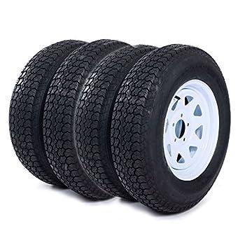 MOTOOS 4pcs 205 75 15 Trailer Tire and Rim 205/75-15 with Bias 15  White Spoke Wheel 5 Lug On 4.5  Center Hole