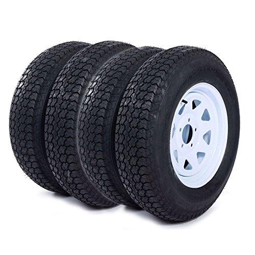 "Roadstar 4pcs 205 75 15 Trailer Tire and Rim 205/75-15 with Bias 15"" White Spoke Wheel, 5 Lug On 4.5"" Center Hole"