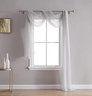 HLC.ME Silver Grey Sheer Voile Window Curtain Swag Scarf - Valance - Fully Stitched and Hemmed - 55 x 216 Inch Long
