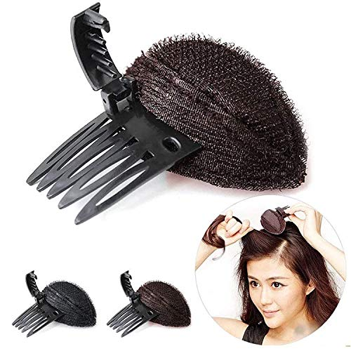 2 pcs Hair Volume Increase Fluffy Sponge Puff Comb Clip DIY Styling, Invisible Fluffy Princess Styling Insert Increase Hair Pad, Hair Base Bump Styling Insert Tool (marrón)