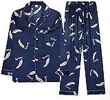 PATA Pijamas de verano para mujer, conjunto de pijamas de manga larga, ropa de dormir para mujer, con botones, ropa de dormir suave (color: azul, tamaño: M)