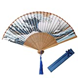 kuou Silk Folding Fan, Bamboo Handheld Fan Blue Japanese style Fans Hand Holding Fans for Wall Decoration Dancing Cosplay Wedding Party