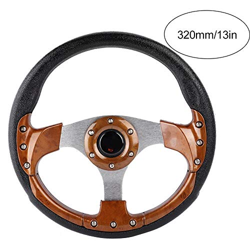 KSTE 320 mm / 350 mm / 13 inch / 14 inch universeel stuur van leer voor racewagen Sport Drift stuurwiel (bruin 13 inch)