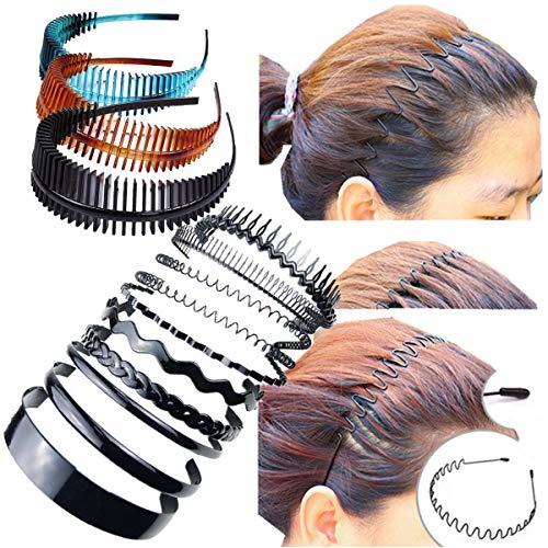 Haarreifen von Cuhair, modisch, aus Metall, Kunststoff, Acryl, für Damen und Herren, gezahnt