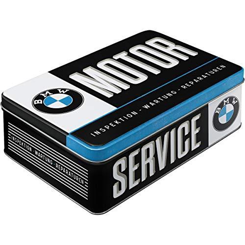 Nostalgic-Art Retro Vorratsdose flach BMW – Service – Geschenk-Idee für Auto Zubehör Fans, Blech-Dose mit Deckel, Vintage Design, 2,5 l