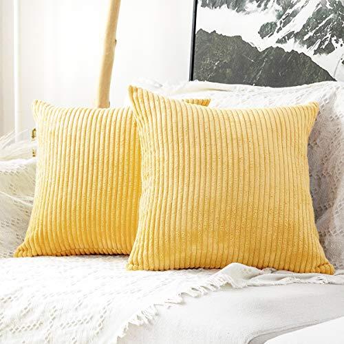 MUDILY 2 Stück gestreifte Samt Dekor Throw Kissenbezüge Kissenbezug für Stuhl Supersoft handgemachte dekorative Kissenbezüge für Sofa Bett Bank und Outdoor, hellgelb 50,8 x 50,8 cm