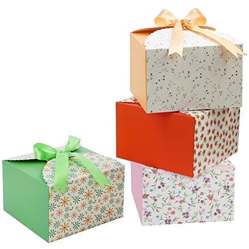 Belle Vous Set Cajitas Regalo Borde con Ondas (Pack de 20) Cajas Cuadradas con Cinta 14,7 x 14,7 x 9,4 cm - Cajas para Regalos de Boda, Fiestas, Jabón Casero y Dulces - Cajitas para Chuches