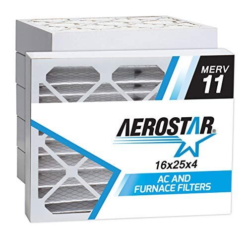 Aerostar 16x25x4 MERV 11 Pleated Air Filter, Made in the USA 15 1/2' x 24 1/2' x 3 3/4', 6-Pack