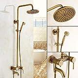 Retro Duschset, Antik Messing Duschsystem, Wasserhahn Messing Antik Mit Höhenverstellbar Umfassen Handbrause, Duschkopf und Dusche Armatur