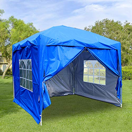 Greenbay 2.5M x 2.5M Foldable Pop up Gazebo Sun Protection Event Outdoor Tent With Four Side Panels (Two with Windows) - Blue