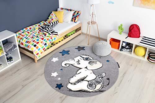 Kindertapijt Petit voor babykamers, Speel vloerkleden, Kinderkamer, Trompet Olifant Sterren Grijs cirkel 140 cm