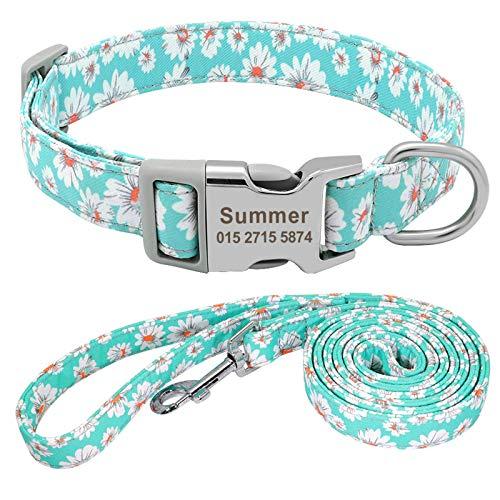 None/Brand Collar personalizado para mascotas Collar de perro de nylon personalizado y correa para identificación de mascotas Collar de placa de identificación para perros pequeños y medianos grandes