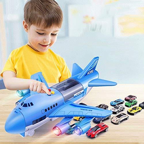 MUMUMI Flugzeug Passagier Boy Flughafen-Gebäude, Flugzeug-Spielzeug Bauen und Spielen Toy Bricks for Kinder Echt Flugzeug-Modell, Leichtathletik Inertia Spielzeug der Kinder (12 Autos) Weihnachtsgesch