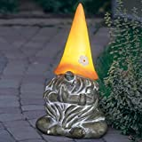 "Exhart Solar Gnamaste Yoga Garden Gnome|Solar LED Peach Light Hat| Outdoor Zen & Meditation Inspired Garden Art|UV Treated Weather Resistant Gnome Yogi Statue for Patio| 7.0"" L x 6.0"" W x 11.5"" H"