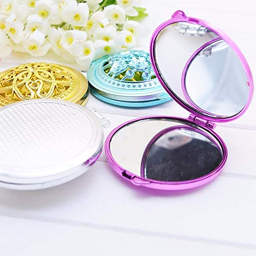 LASISZ Portable Compact Mirrors Girl Double-Side Folded Hollow Out Makeup Mirror Vintage Hand Mirrors Pocket Mirror Mini, Color Random