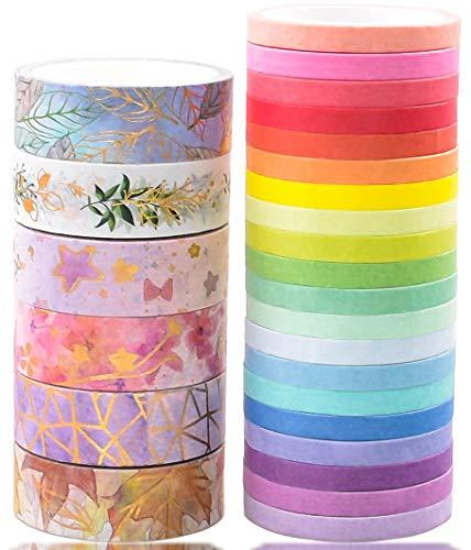 Juego de 15 rollos de cinta washi, diseño floral, vintage, para manualidades, niños, álbumes de recortes, diario de bala, bricolaje, envoltura de regalos
