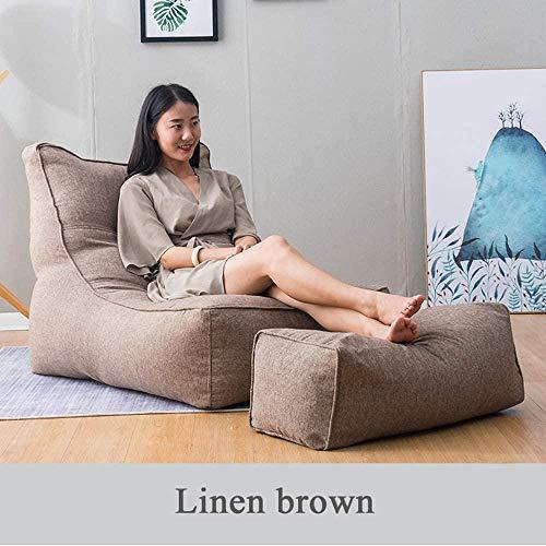 WYJW Großer Highback-Sitzsack für Erwachsene, bequemes Loungesessel Lazy Sofa mit Fußschemeln Baumwollstoff für den Innen- und Außenbereich (80 * 75 * 100 cm)-EPS_Braun