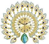 NSYNSY Relojes de Pared Decorativos 3D, Sala de Estar, Reloj de Pavo Real, Lujo Europeo en Relieve, Diamante acrílico, Arte de Hierro, Metal de Gran tamaño-A, 76x65cm (30x26 Pulgadas)