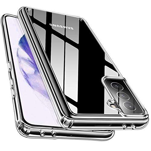 McDuLL 対応 Samsung Galaxy S21 ケース クリア 高透明 耐衝撃 PC+TPU 黄変防止 薄型 ワイヤレス充電対応 軽量 落下防止 滑り止め、すり傷防止(クリア)