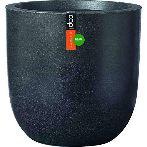 CAPI Europe Pflanzgefäß schwarz Kunststoff glatt Outdoor (Hx Ø) : 35 x 34 cm