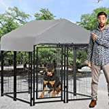 Welded Wire Dog Kennel Dog Crates Cage Large Metal Heavy Duty Outdoor Indoor Pet Playpen with a Roof and Water-Resistant Cover Animal Dog Enclosure for Large Dog