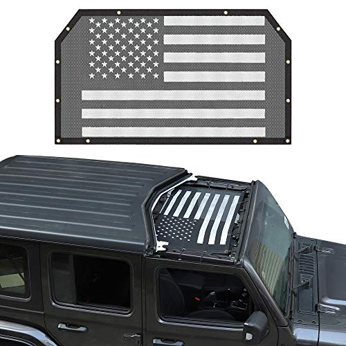 Savadicar Mesh Shade Top for 2018-2021 Jeep Wrangler JL JLU & Gladiator JT 2/4 Door, USA Flag Sun Shade Cover Provides UV Protection, Durable Polyester, Black